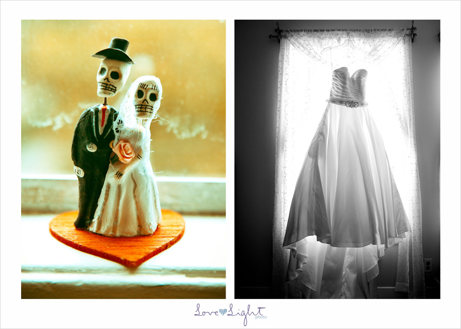 wedding dress and day of dead cake topper