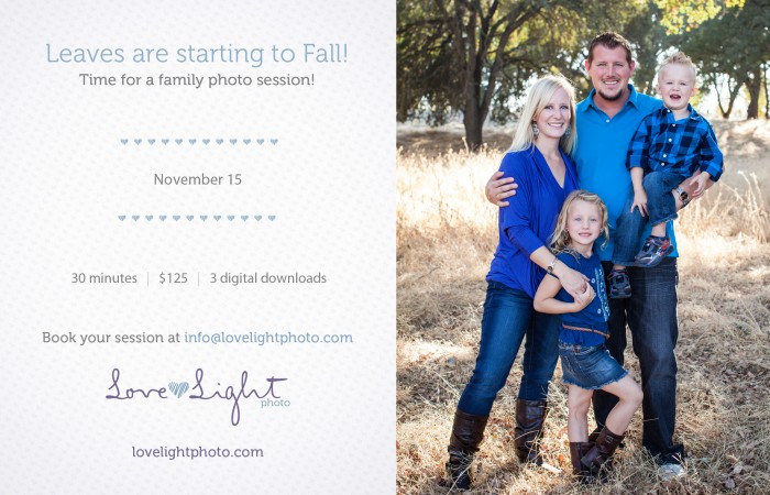 Announcing Family portrait Mini sessions Novemeber 15