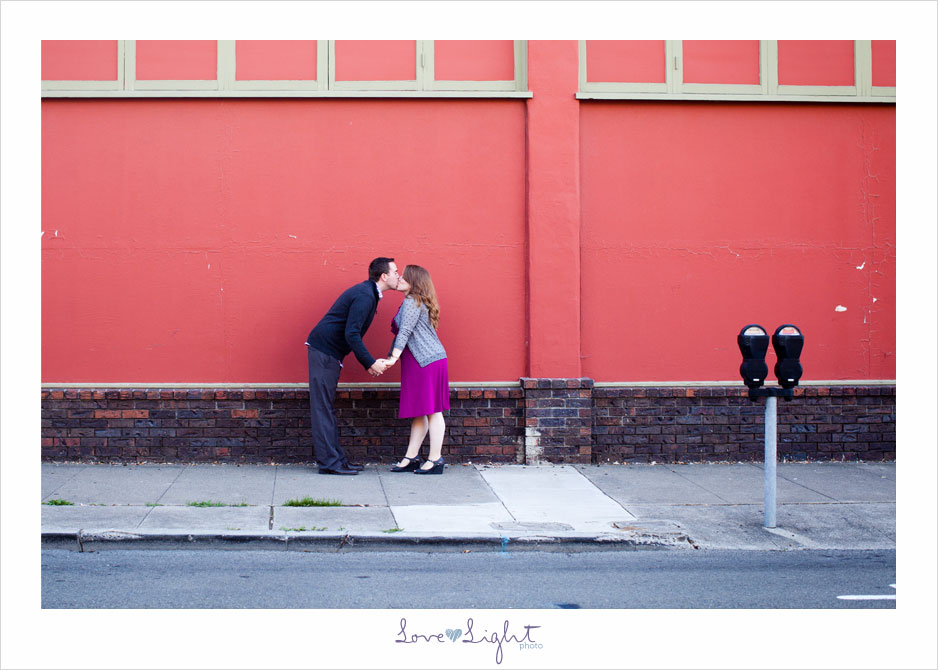 engagement photo street kiss
