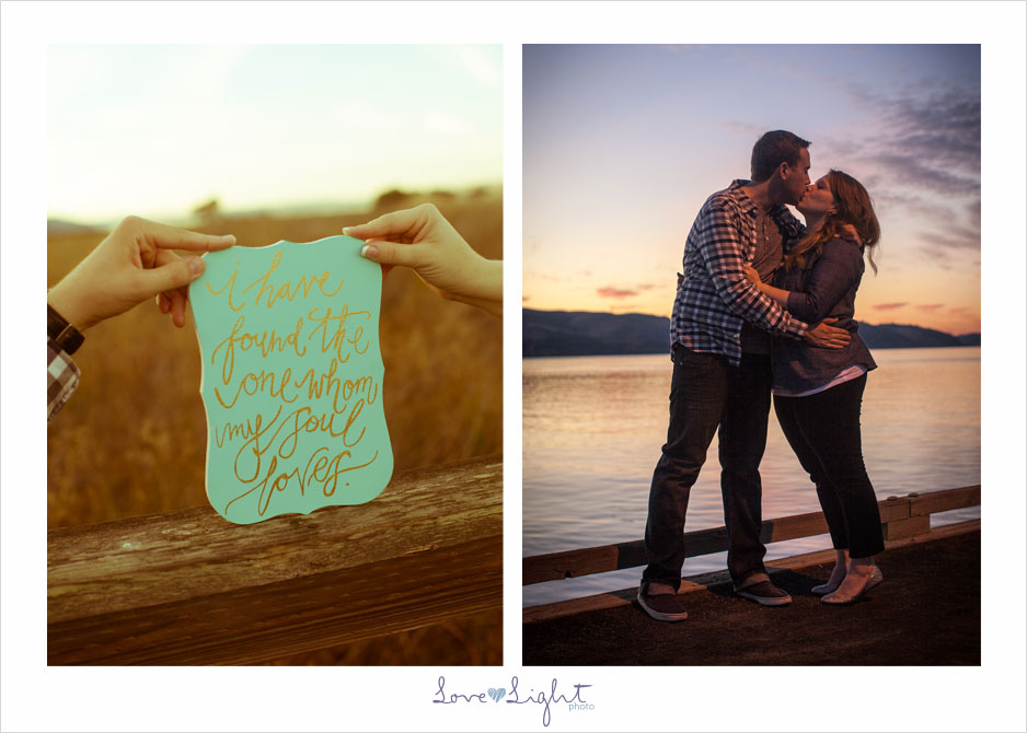 engagement photo sign kiss sunset