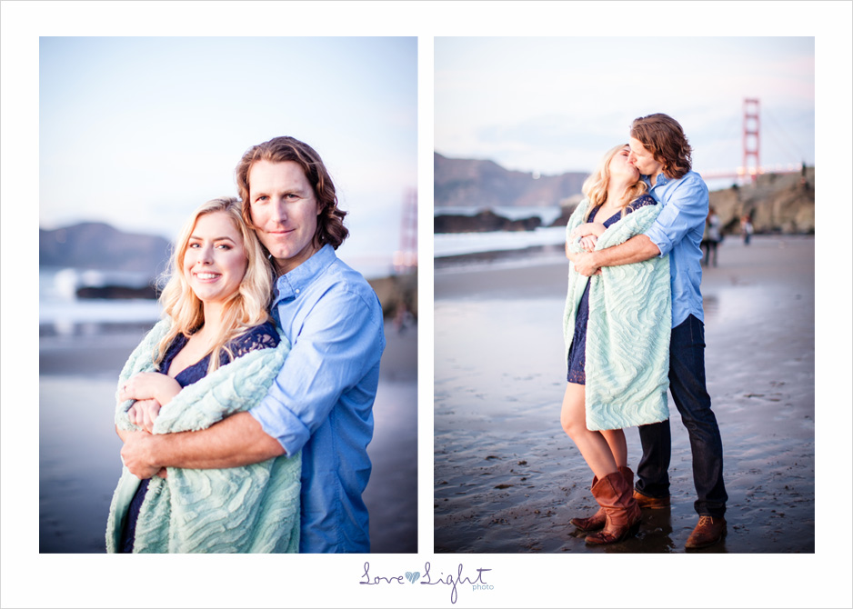 San Francisco Baker Beach engagement sunset