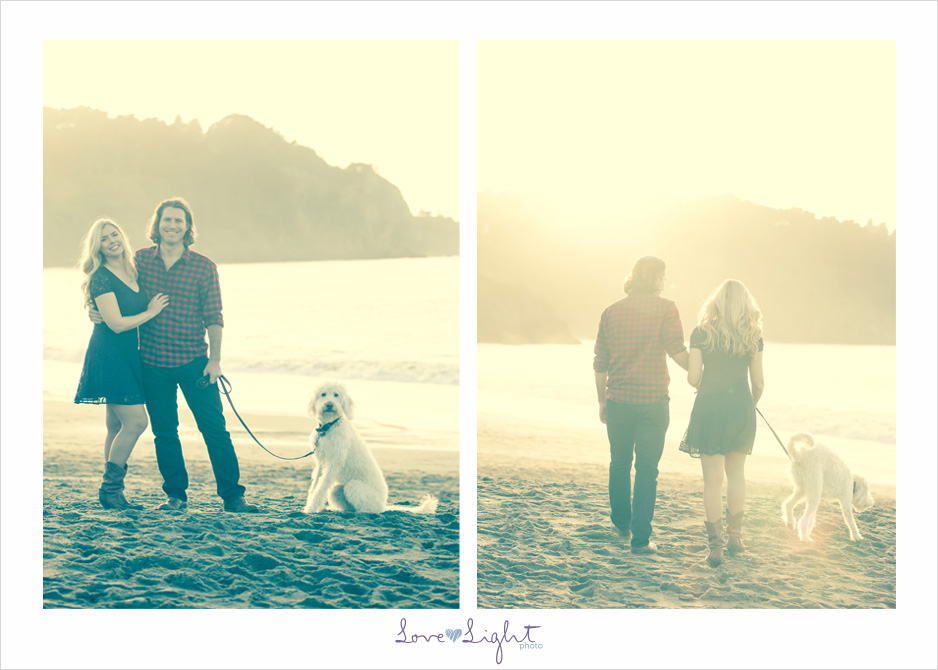 San Francisco Baker Beach engagement sunset labradoodle
