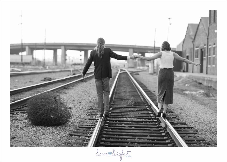 Oakland engagement train tracks