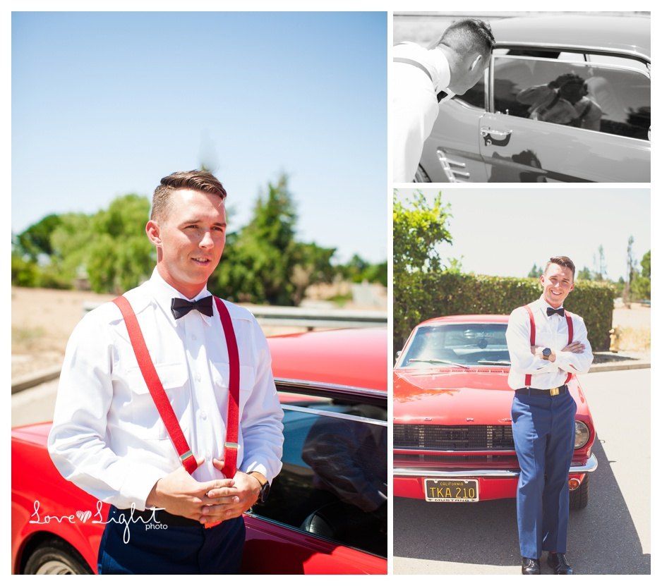 groom in vintage mustang