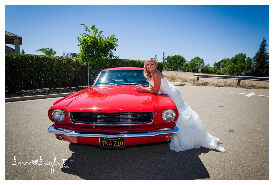 bride in vintage mustang